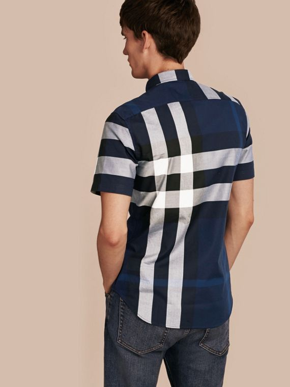 Indigo blue Short-sleeved Check Cotton Shirt Indigo Blue - cell image 2