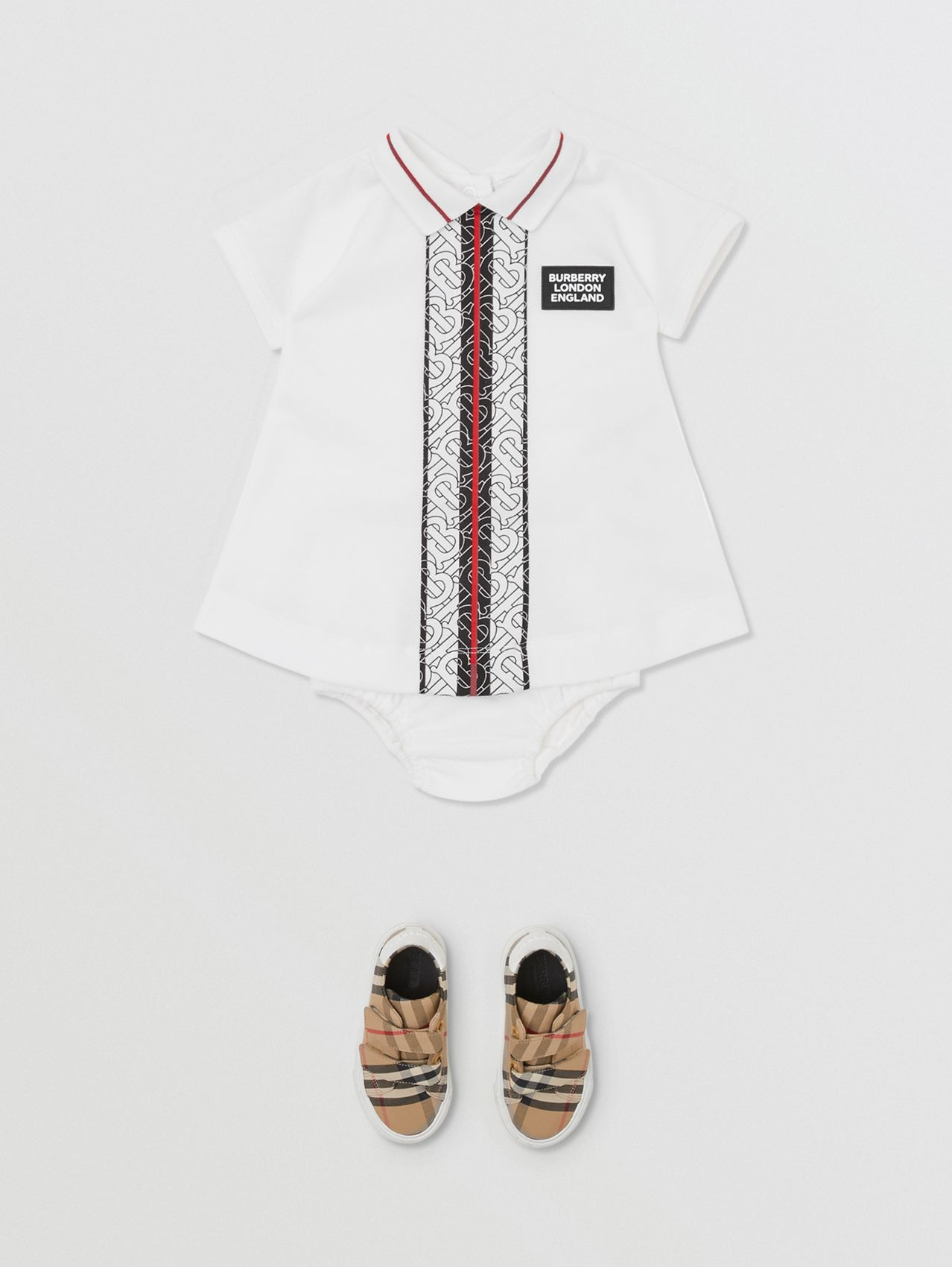 Monogram Stripe Cotton Piqué Dress with Bloomers (White)