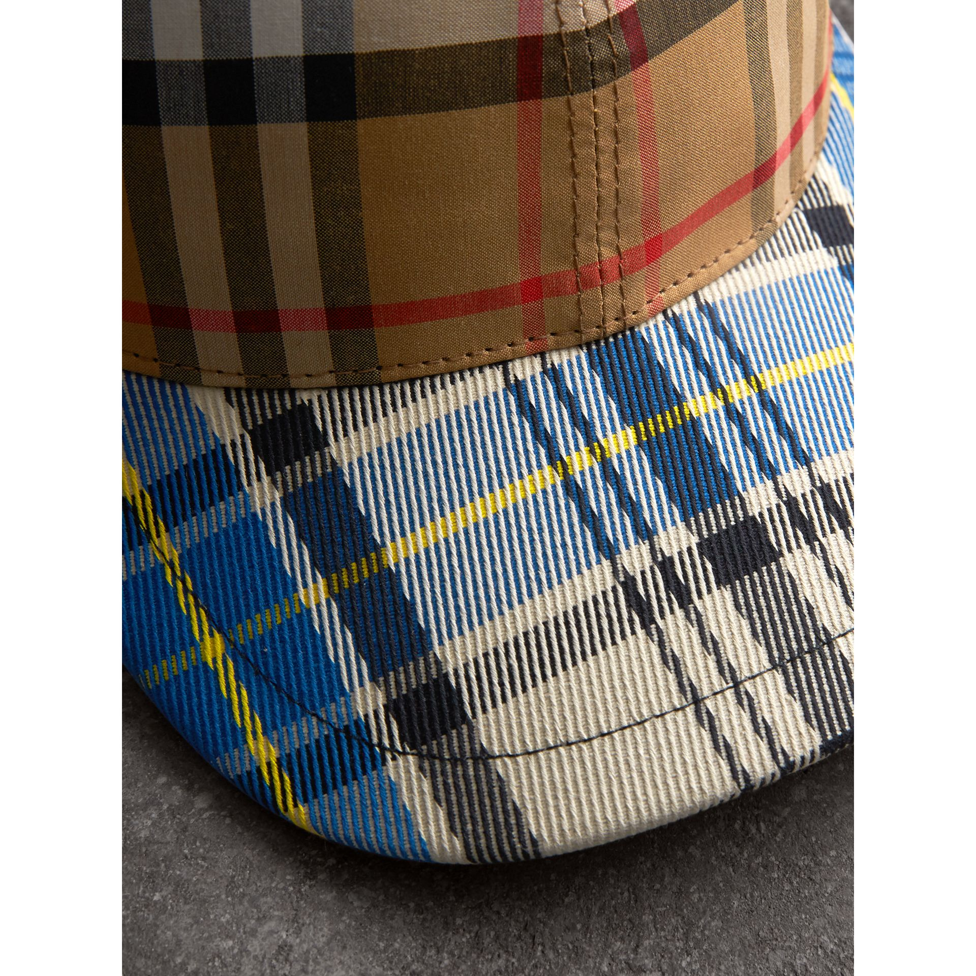 Patchwork Check Baseball Cap in Antique Yellow | Burberry Australia - gallery image 1