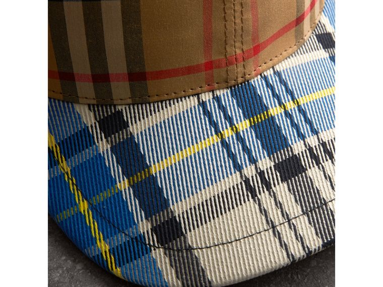 Patchwork Check Baseball Cap in Antique Yellow | Burberry - cell image 1