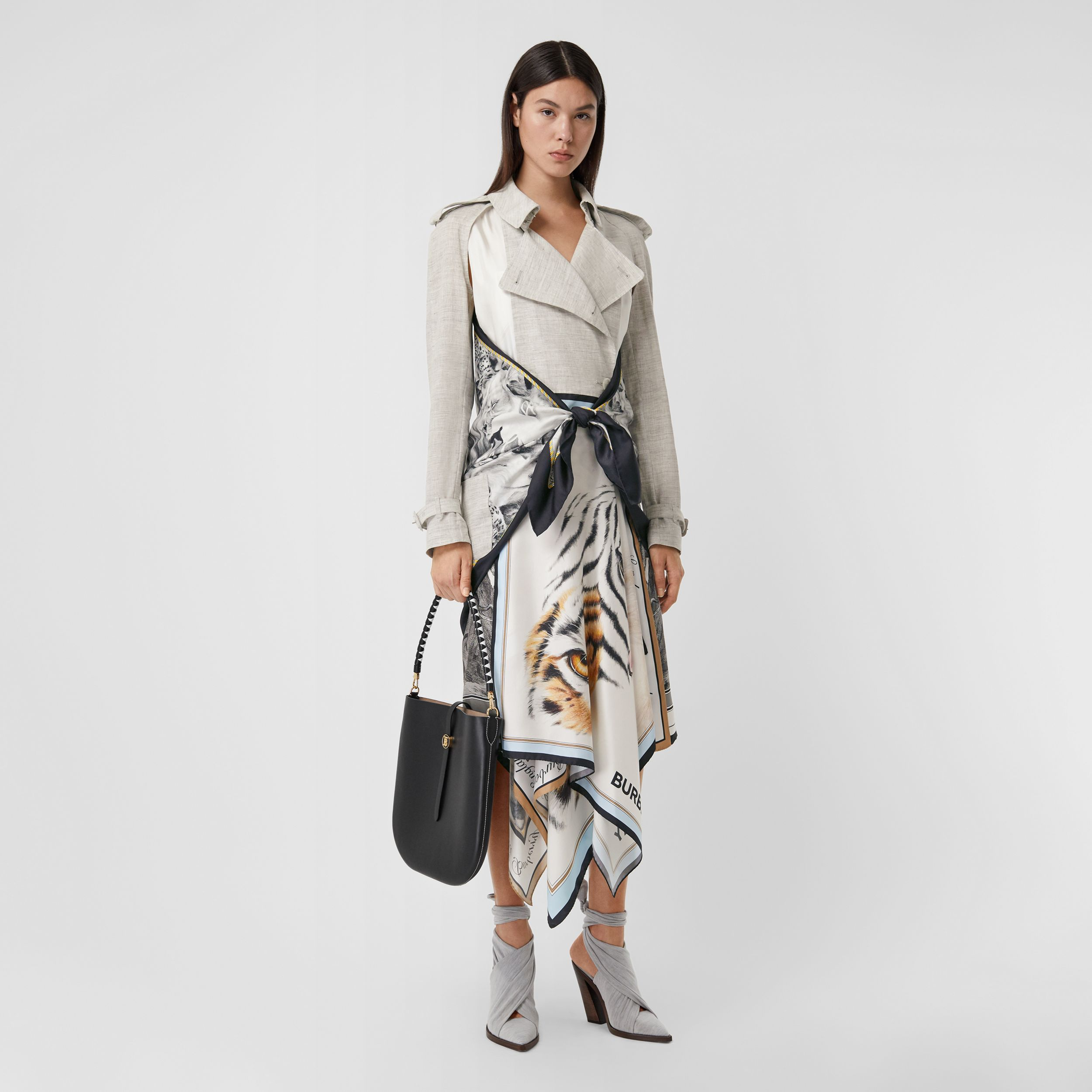 Animalia Print Linen Trench Dress in Grey Melange - Women | Burberry - 1