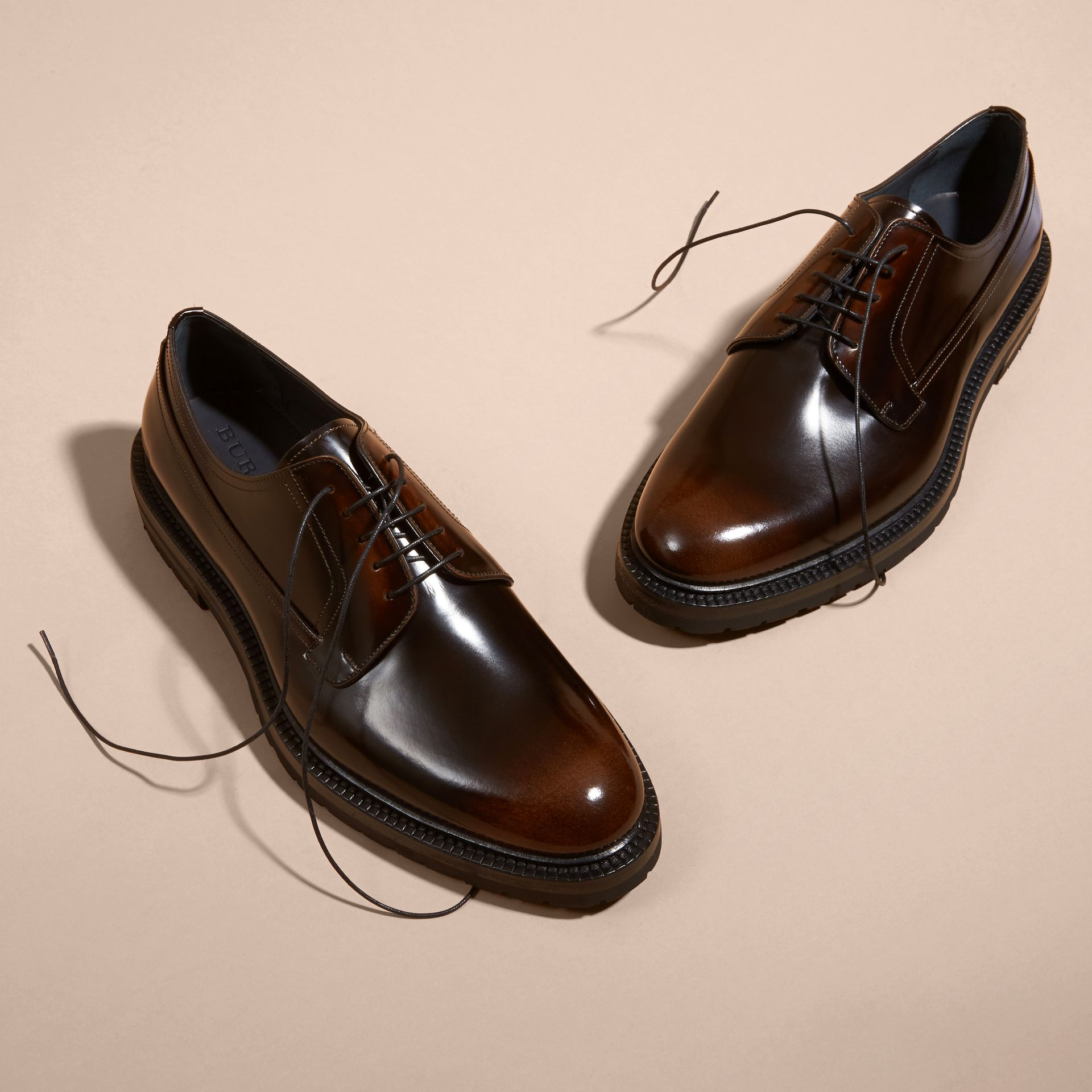 Burnished Leather Derby Shoes in Bitter Chocolate - gallery image 3