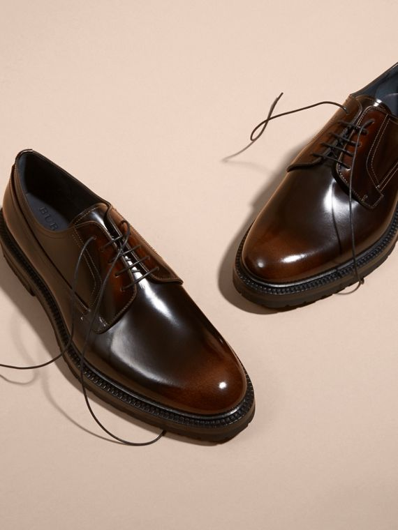 Burnished Leather Derby Shoes in Bitter Chocolate - cell image 2