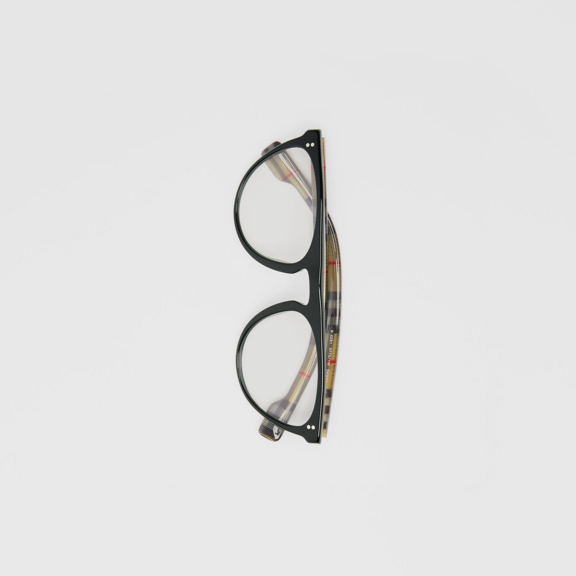 Keyhole D-shaped Optical Frames in Black - Men | Burberry Singapore - gallery image 3