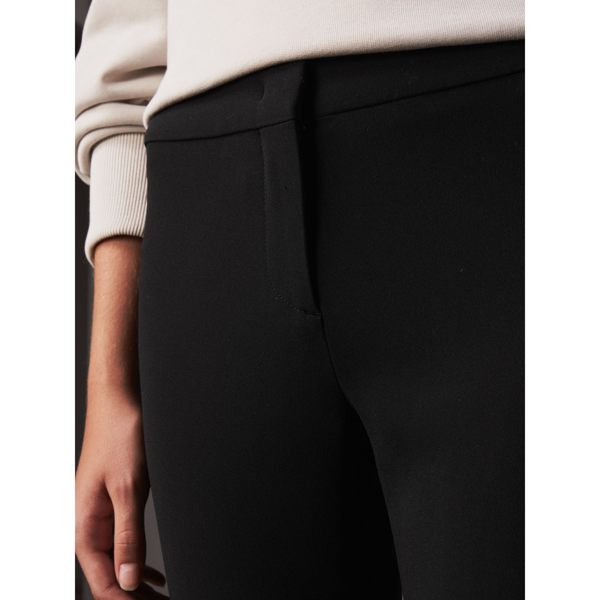 Slim Fit Faille Trousers in Black - Women | Burberry - gallery image 2