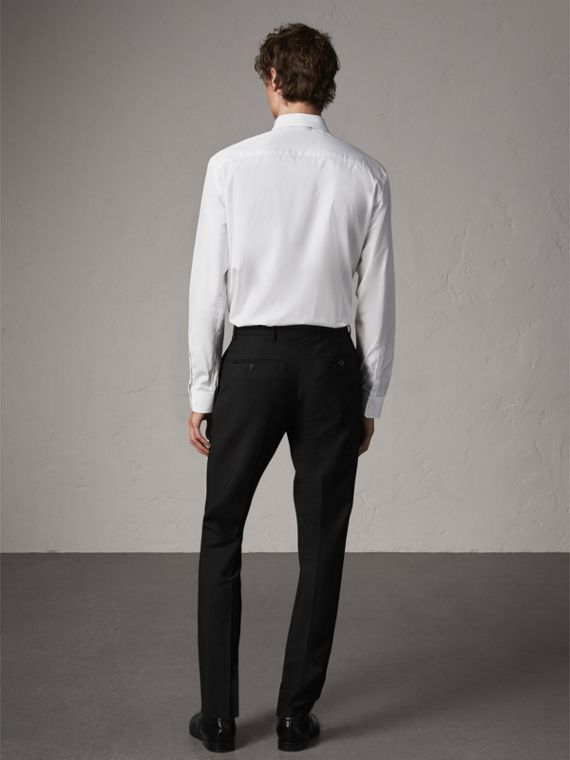 Modern Fit Cotton Poplin Shirt in White - Men | Burberry United States - cell image 2