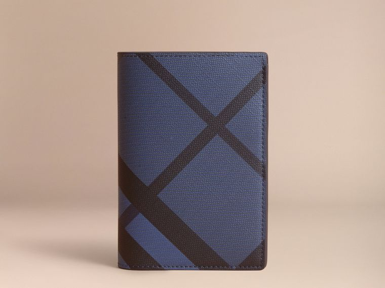 London Check and Leather Passport Holder in Bright Lapis - Men | Burberry - cell image 4