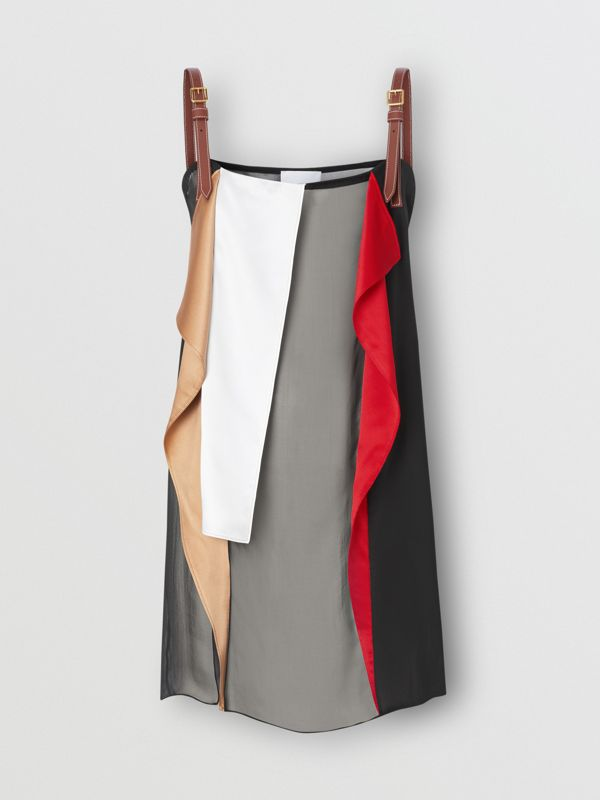 Leather Detail Colour Block Silk Top in Black - Women | Burberry - cell image 3