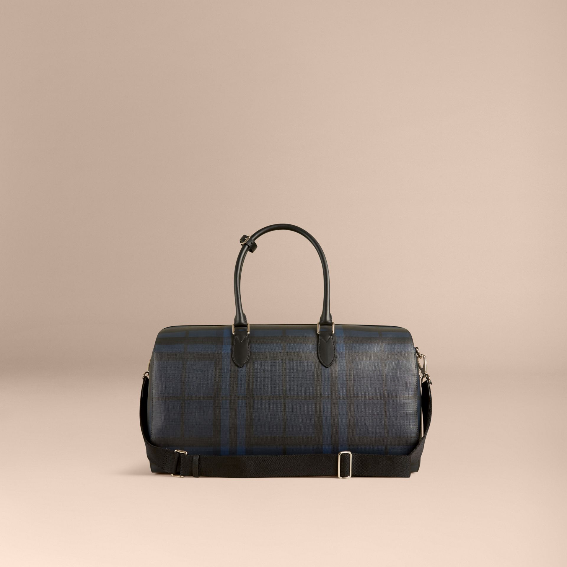 Leather Trim London Check Holdall in Navy/black - gallery image 5