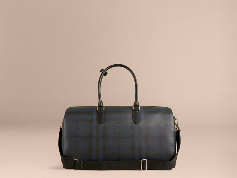 Leather Trim London Check Holdall in Navy/black - cell image 4