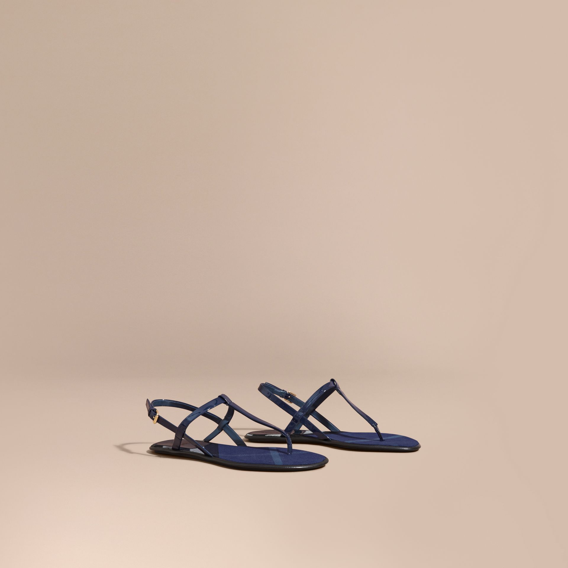 House Check-lined Leather Sandals Indigo Blue - gallery image 1