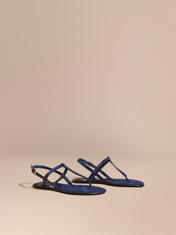 House Check-lined Leather Sandals Indigo Blue