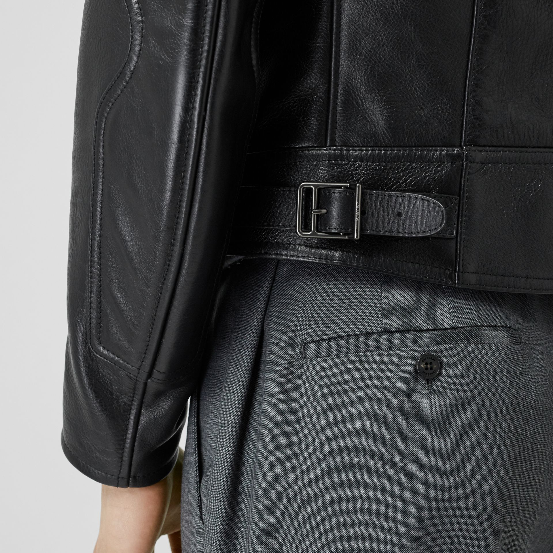 Leather Bomber Jacket in Black - Men | Burberry - gallery image 5