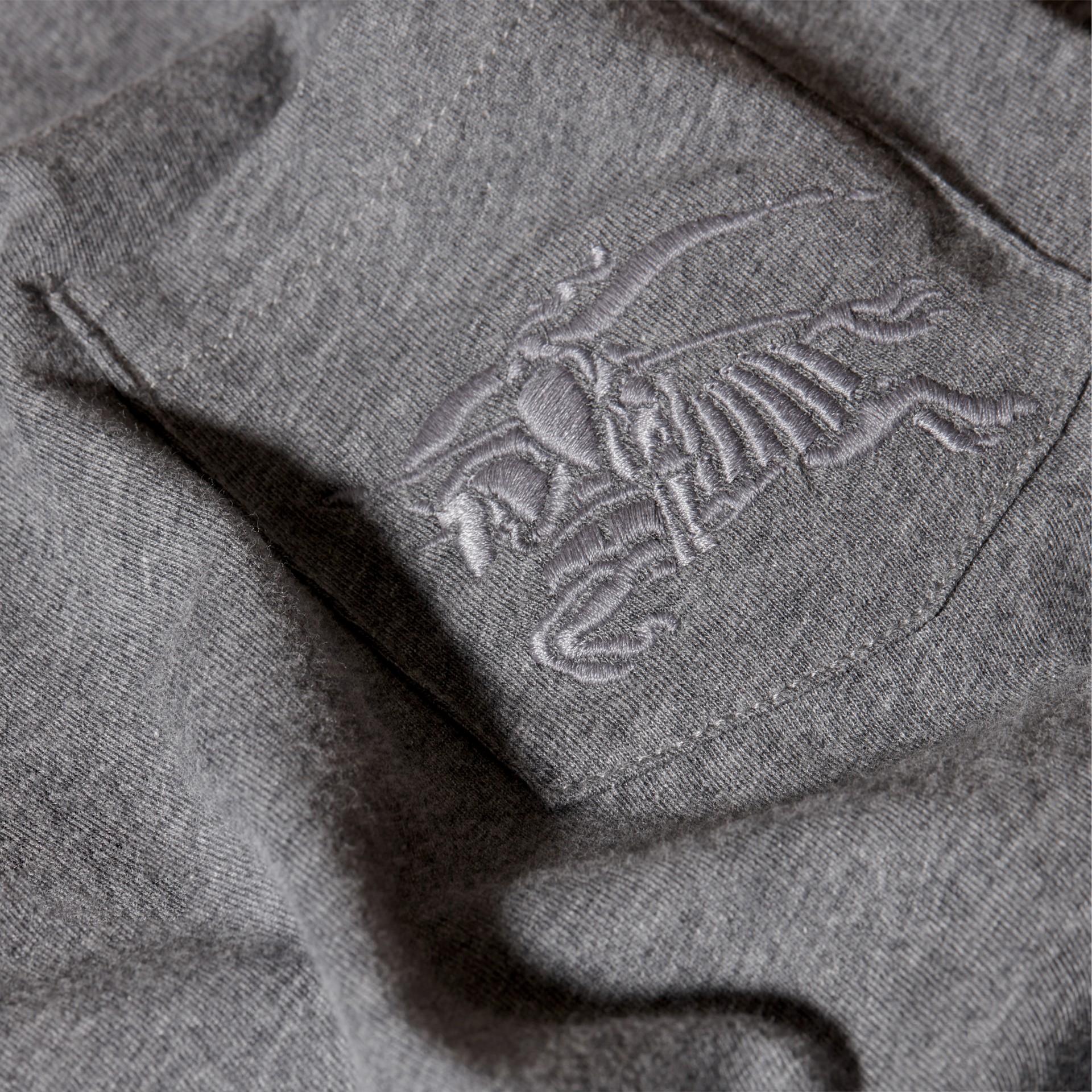 Nero fumo mélange T-shirt girocollo in cotone Nero Fumo Mélange - immagine della galleria 2
