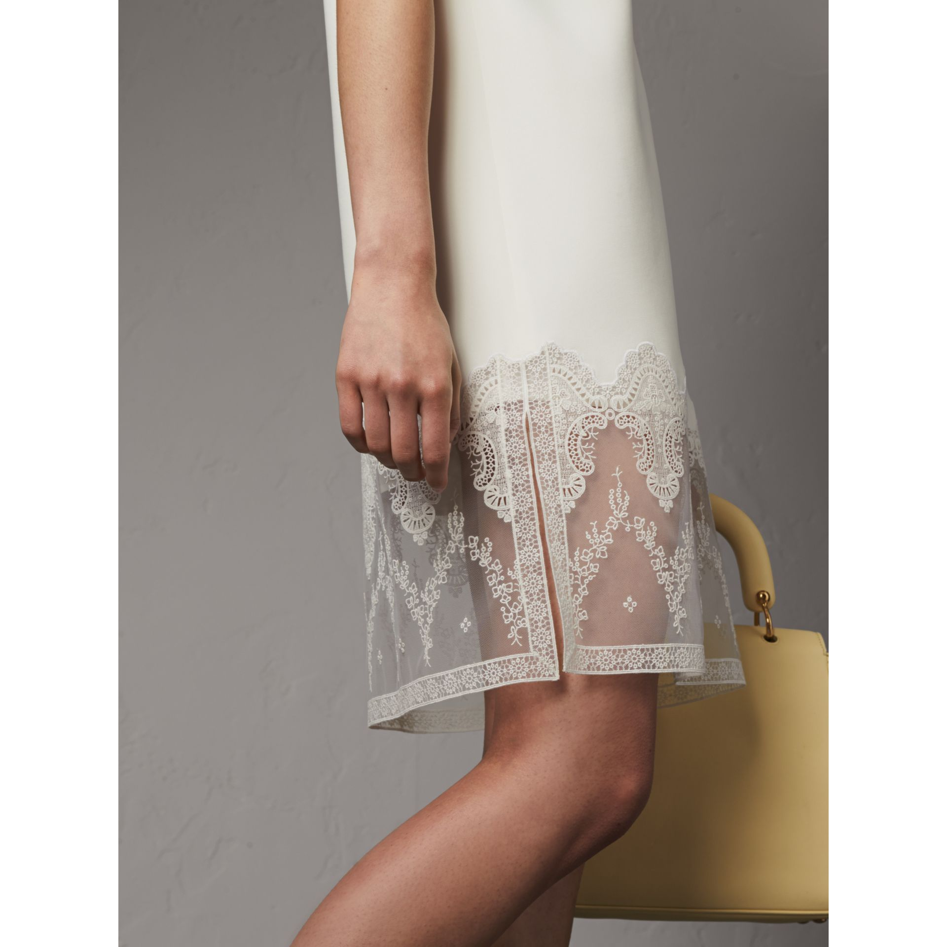 Lace and Silk Shift Dress in Natural White - Women | Burberry - gallery image 2