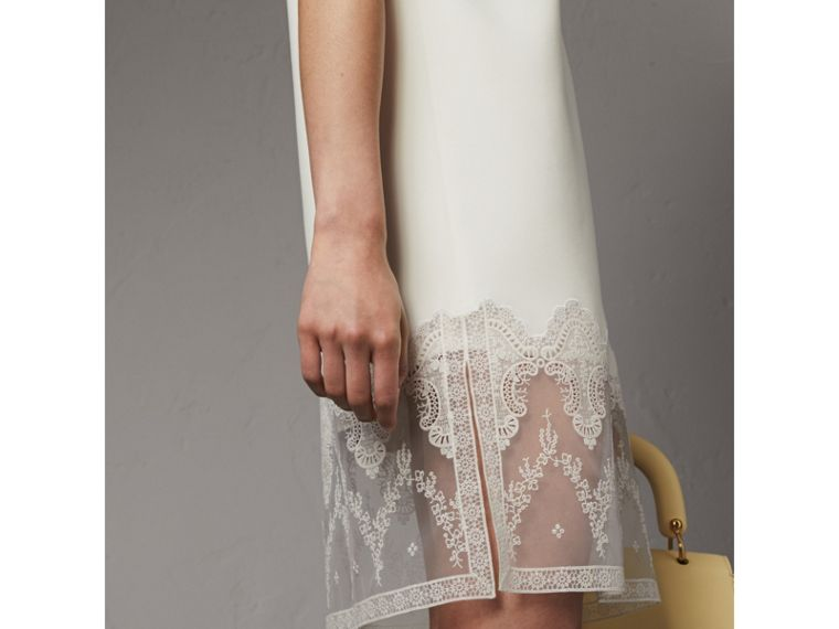 Lace and Silk Shift Dress in Natural White - Women | Burberry - cell image 1
