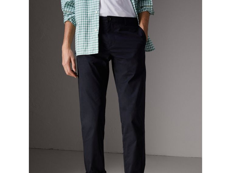 Slim Fit Cotton Chinos in Ink - Men | Burberry United Kingdom - cell image 4