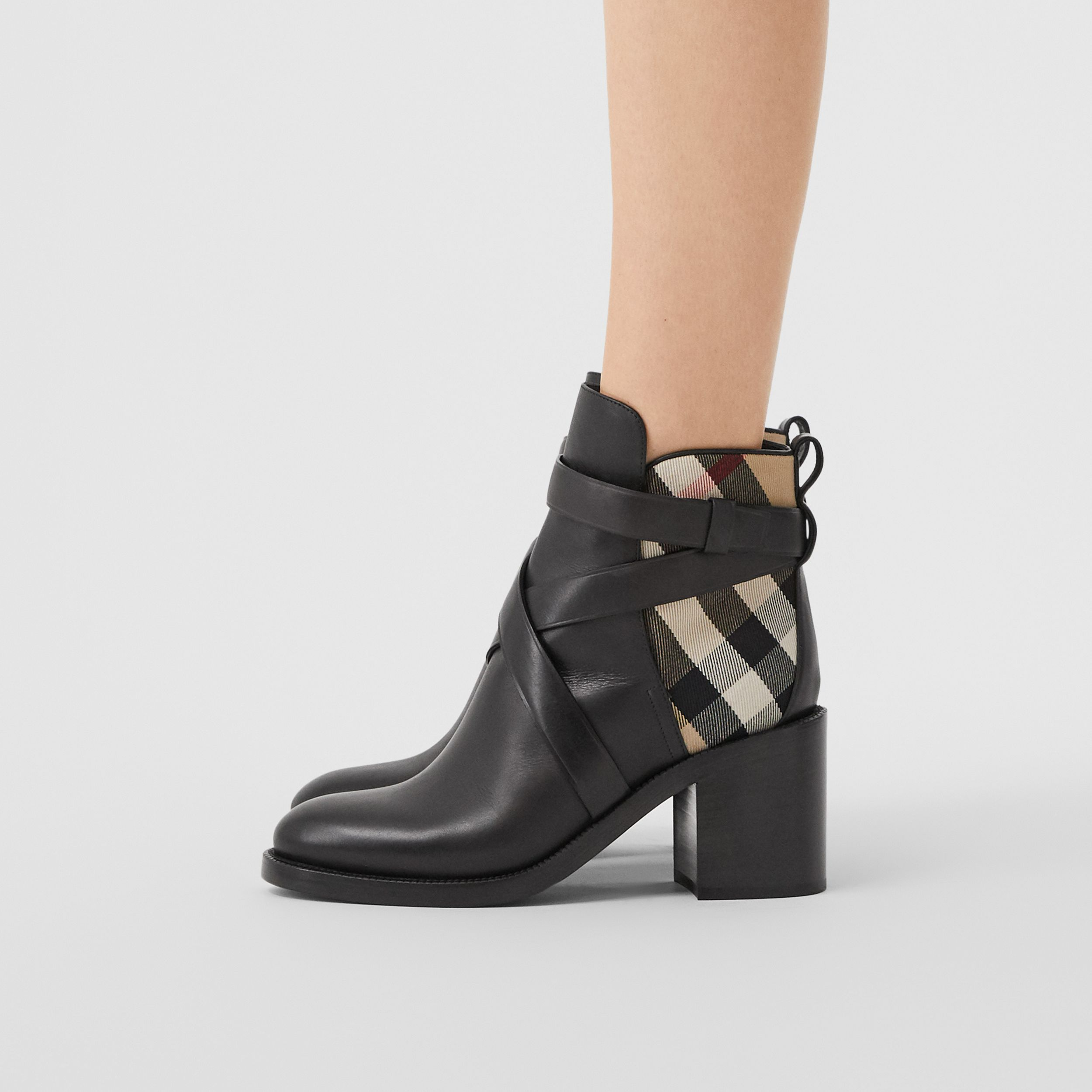Vintage Check and Leather Ankle Boots in Black/archive Beige - Women | Burberry - 3