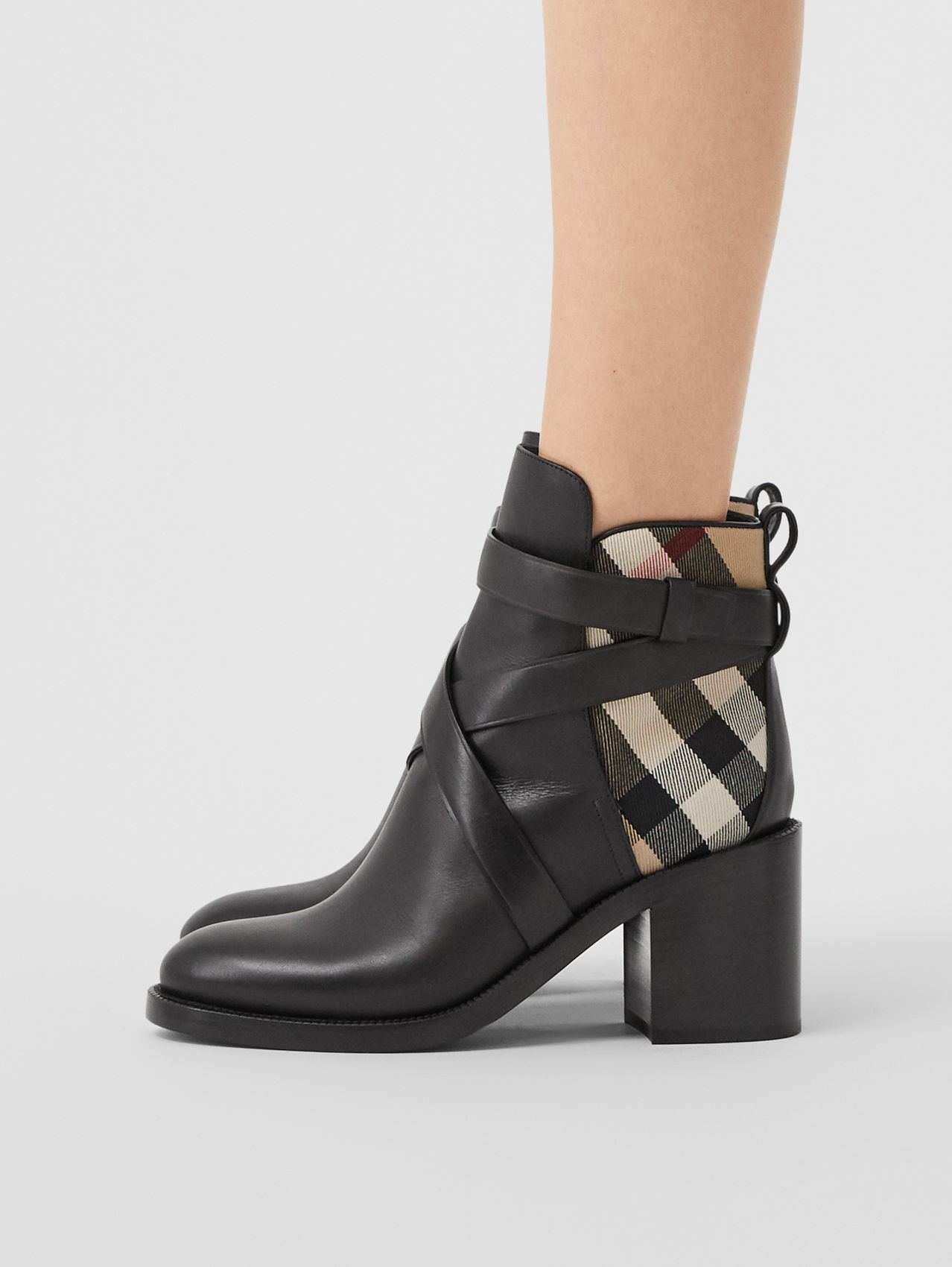 Vintage Check and Leather Ankle Boots (Black/archive Beige)
