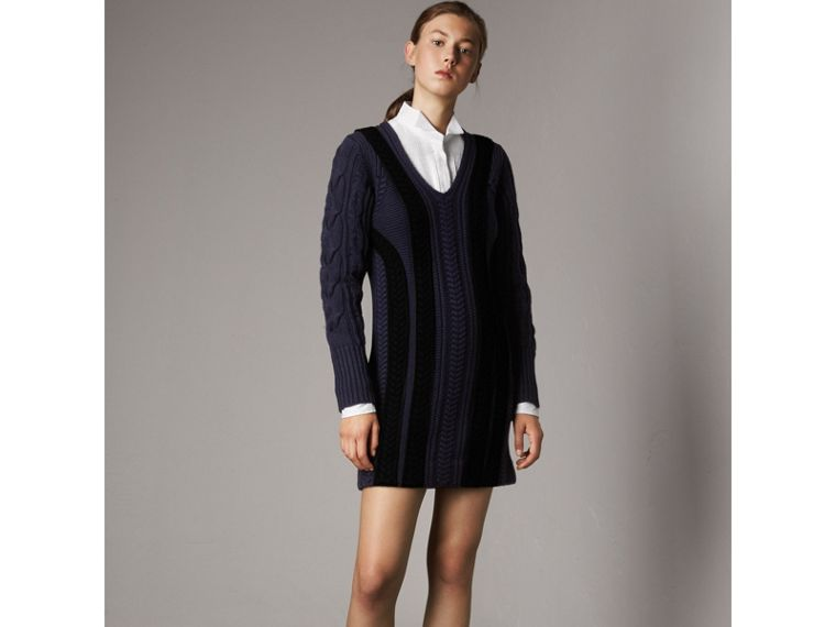 Cable Knit Wool Cashmere Sweater Dress in Navy - Women | Burberry - cell image 4
