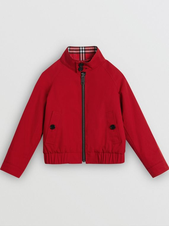 Reversible Check Cotton Harrington Jacket in Bright Red