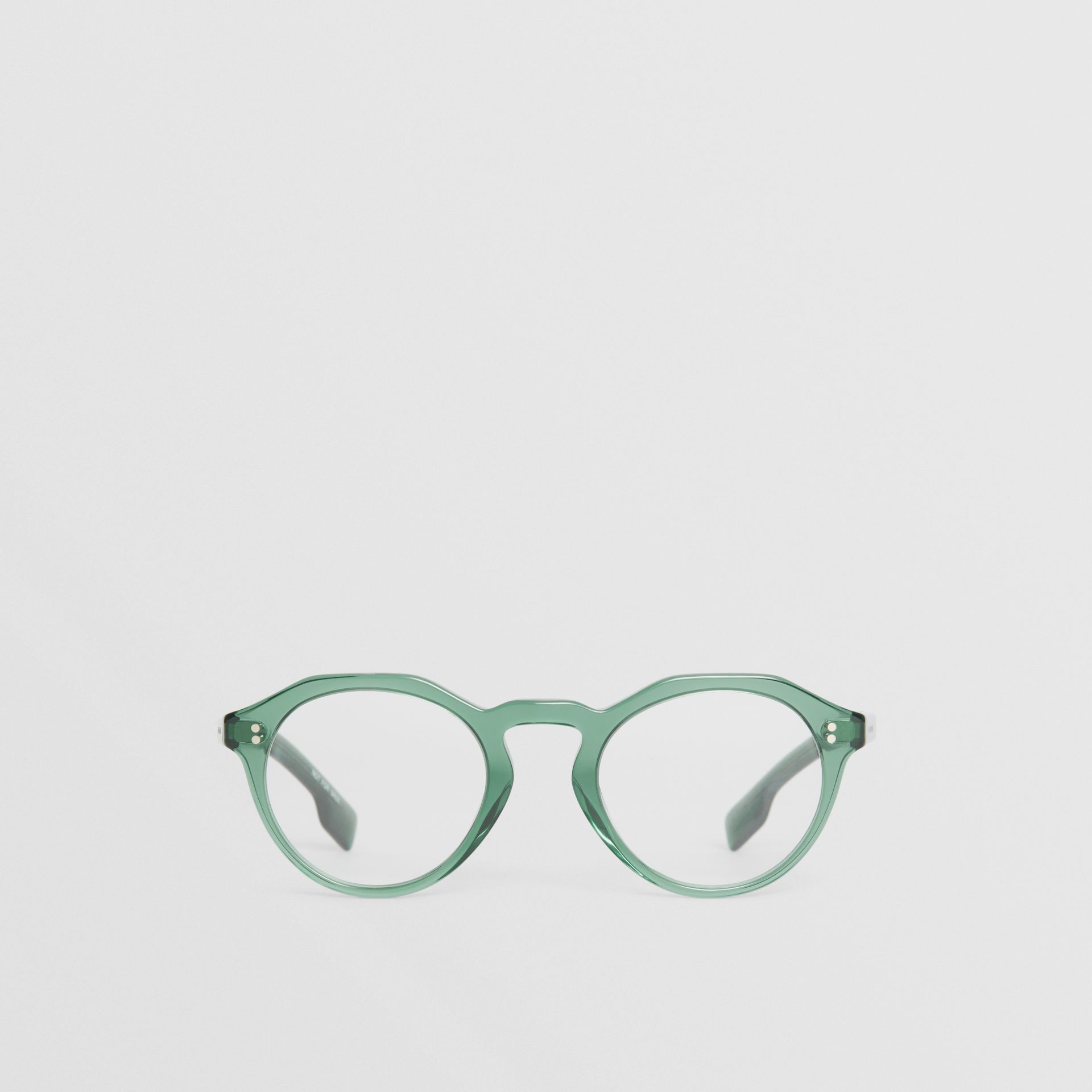 Keyhole Round Optical Frames in Green - Men | Burberry United Kingdom - gallery image 0