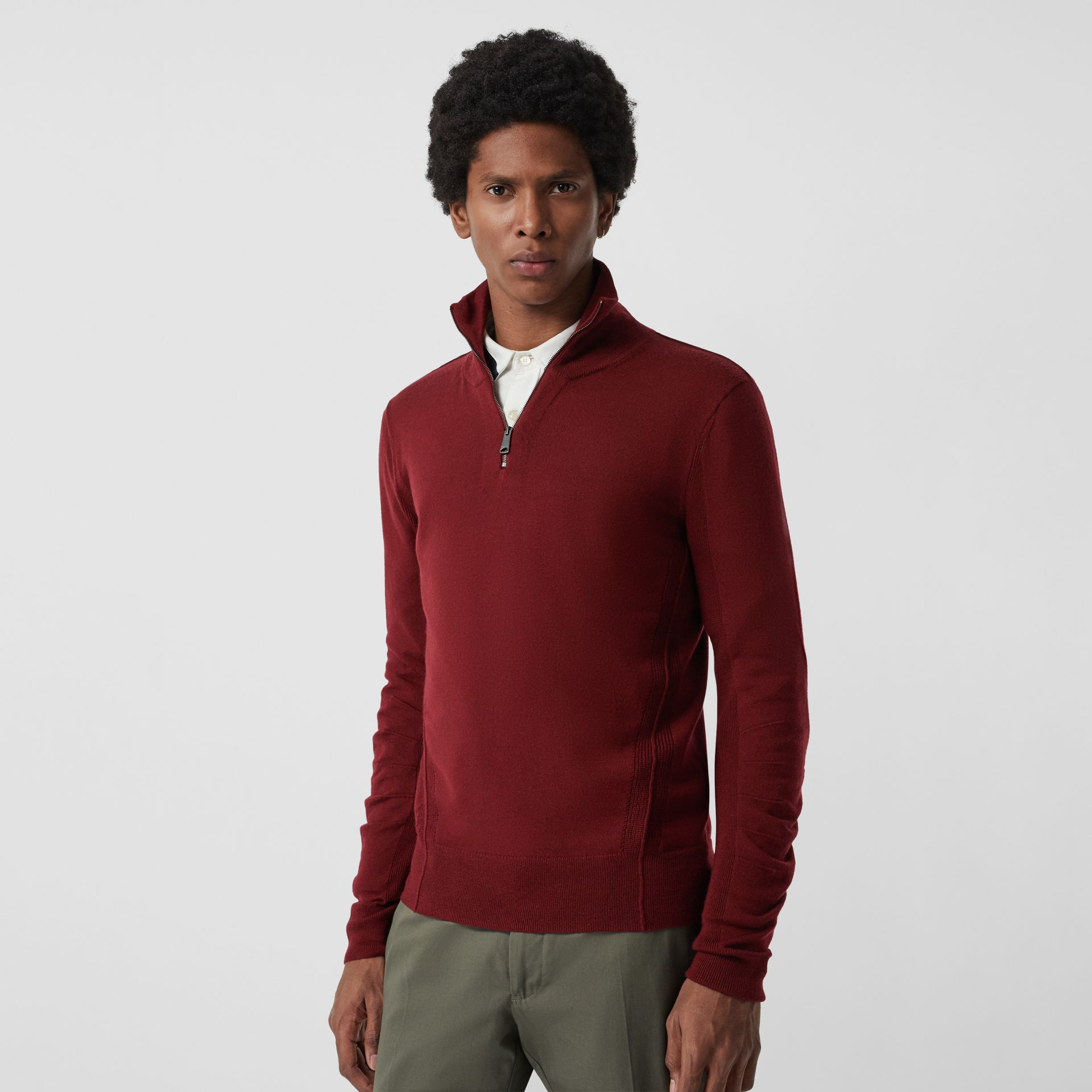 Merino Wool Half-zip Sweater in Burgundy - Men | Burberry Australia - gallery image 4