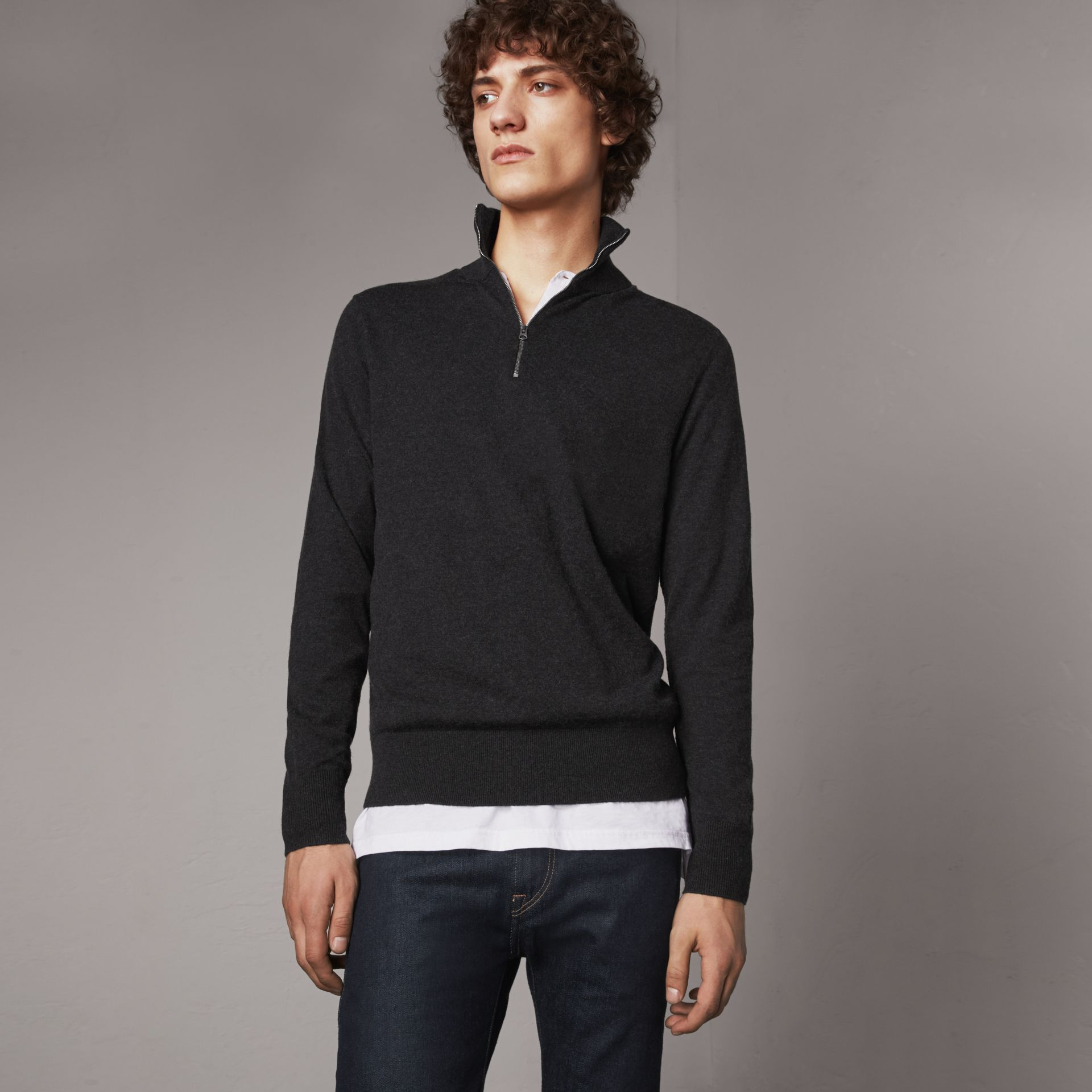 Zip-neck Cashmere Cotton Sweater in Charcoal - Men | Burberry - gallery image 0