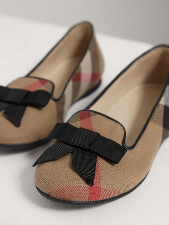 Bow Detail House Check Ballerinas in Classic - Girl | Burberry - cell image 3