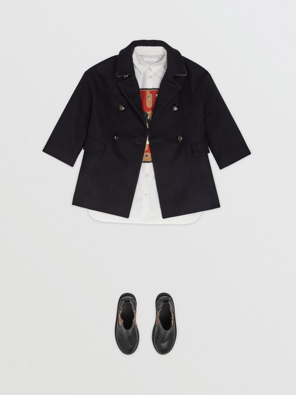Wool Tailored Pea Coat in Navy | Burberry Hong Kong - cell image 2