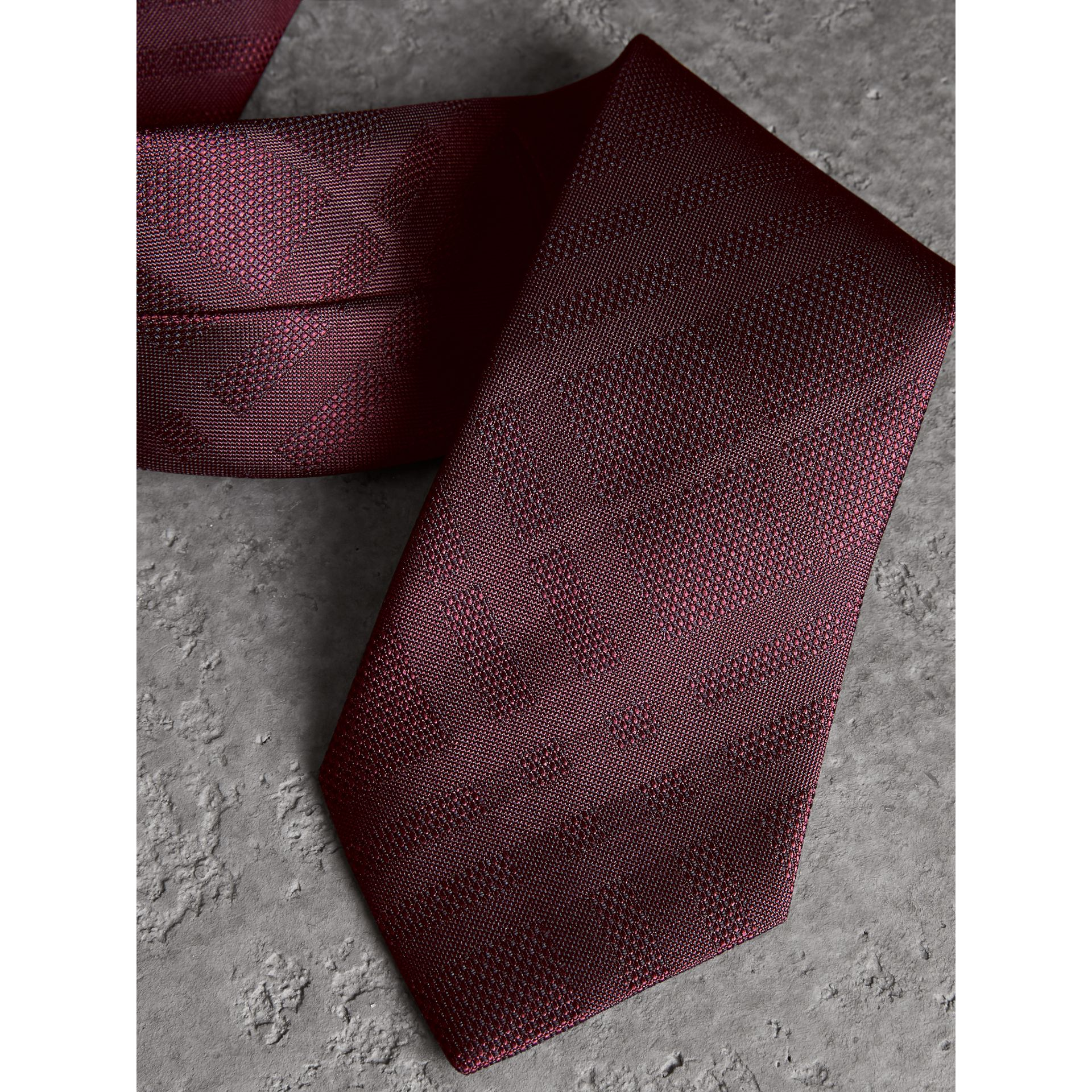 Classic Cut Check Silk Jacquard Tie in Deep Claret - Men | Burberry United States - gallery image 1