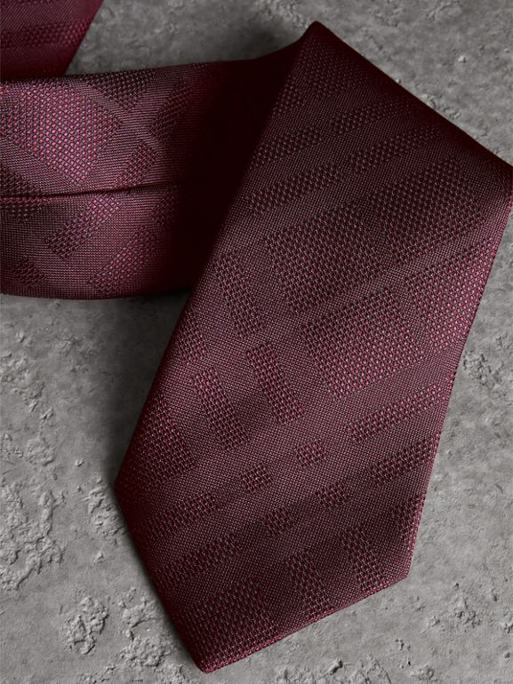 Classic Cut Check Silk Jacquard Tie in Deep Claret - Men | Burberry United States - cell image 1