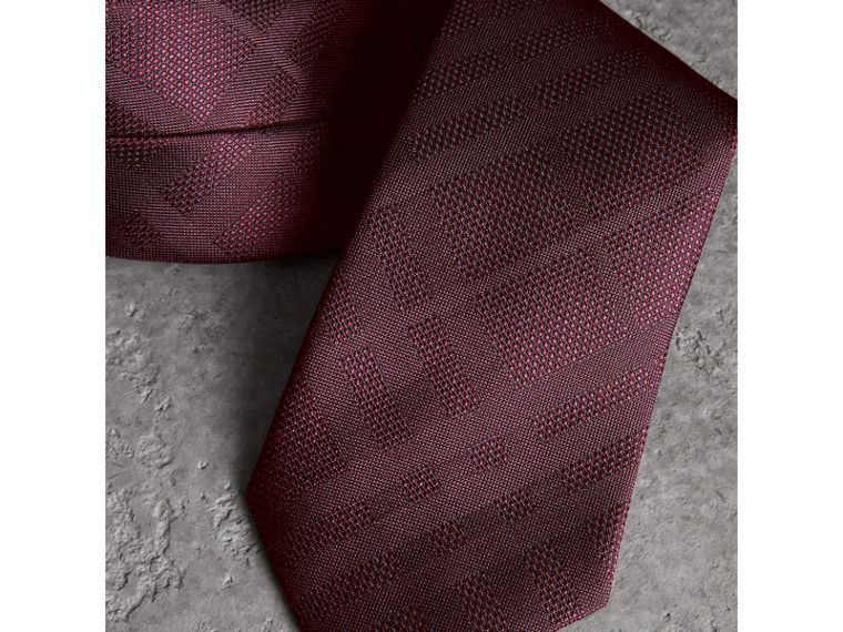 Classic Cut Check Silk Jacquard Tie in Deep Claret - Men   Burberry United States - cell image 1