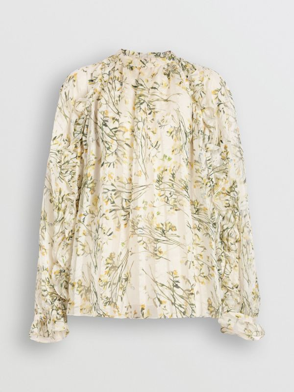 Ruffle Detail Floral Silk Blend Blouse in Lawn Green - Women | Burberry Australia - cell image 3