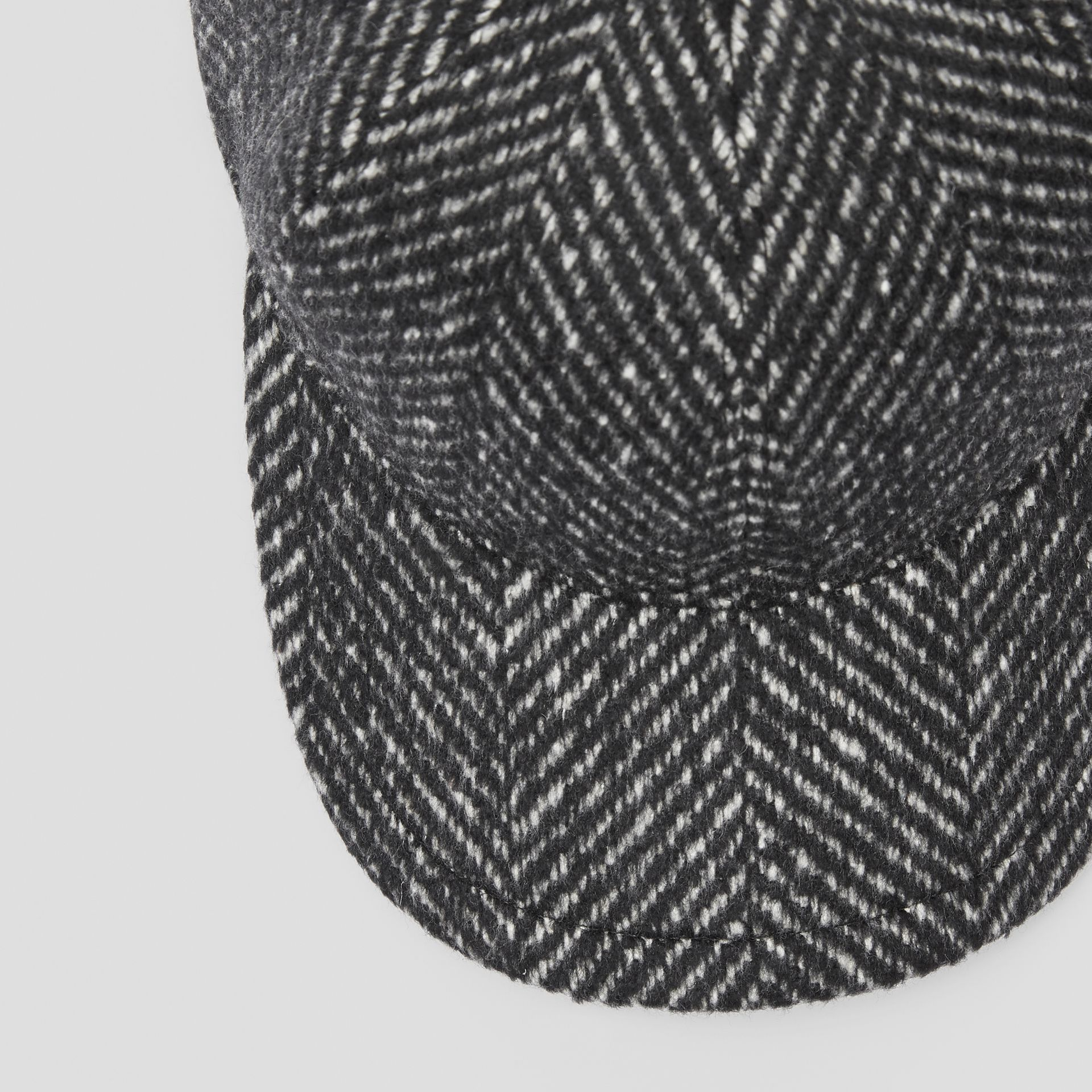 Herringbone Wool Silk Blend Baseball Cap in Black | Burberry United Kingdom - gallery image 1