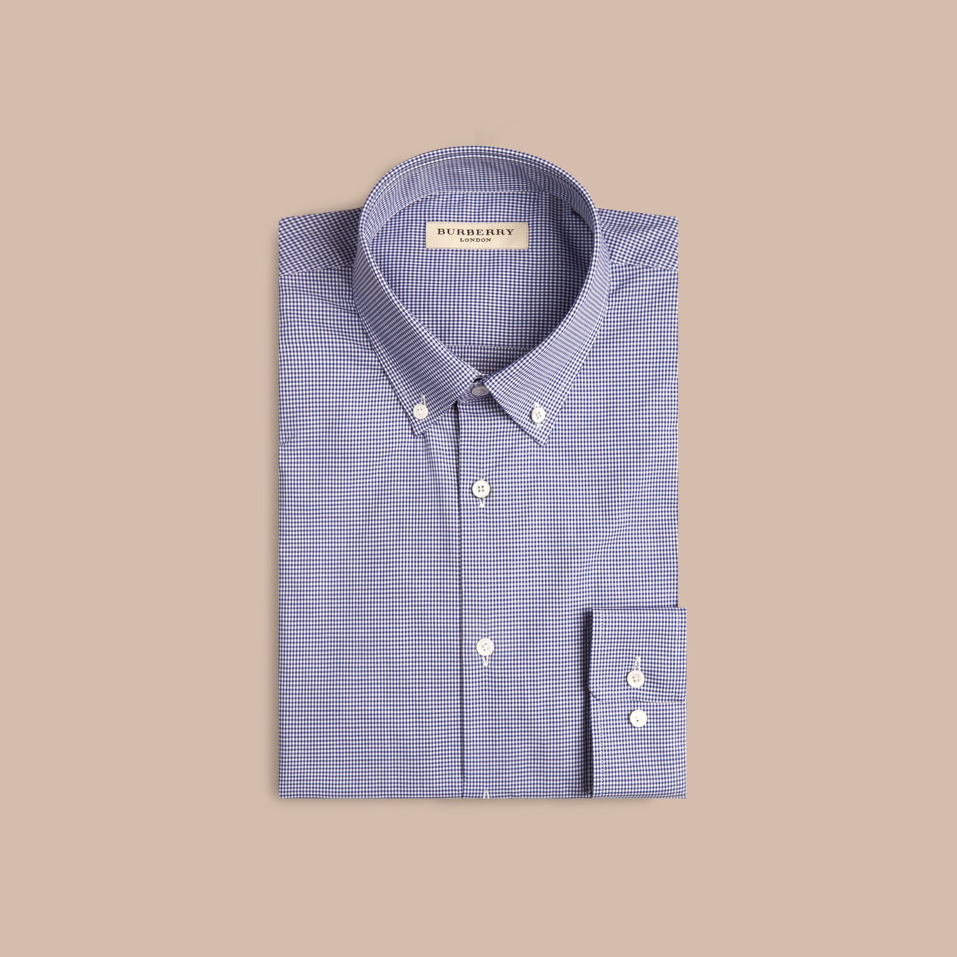 Dark empire blue Modern Fit Button-down Collar Gingham Cotton Poplin Shirt - gallery image 4