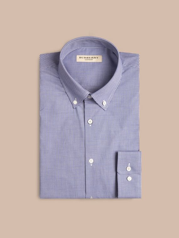 Dark empire blue Modern Fit Button-down Collar Gingham Cotton Poplin Shirt - cell image 3
