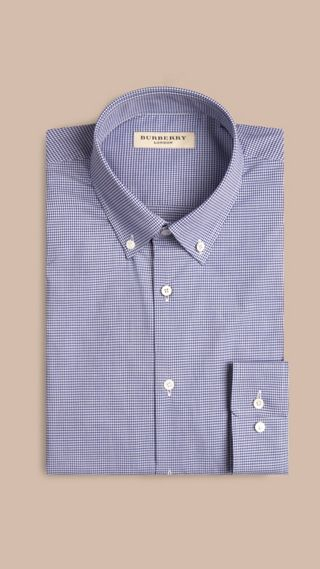 Modern Fit Button-down Collar Gingham Cotton Poplin Shirt