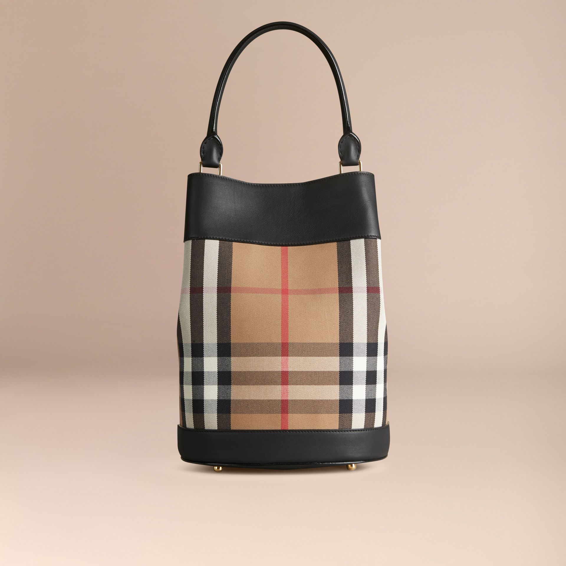 Black The Bucket Bag in House Check and Leather Black - gallery image 4