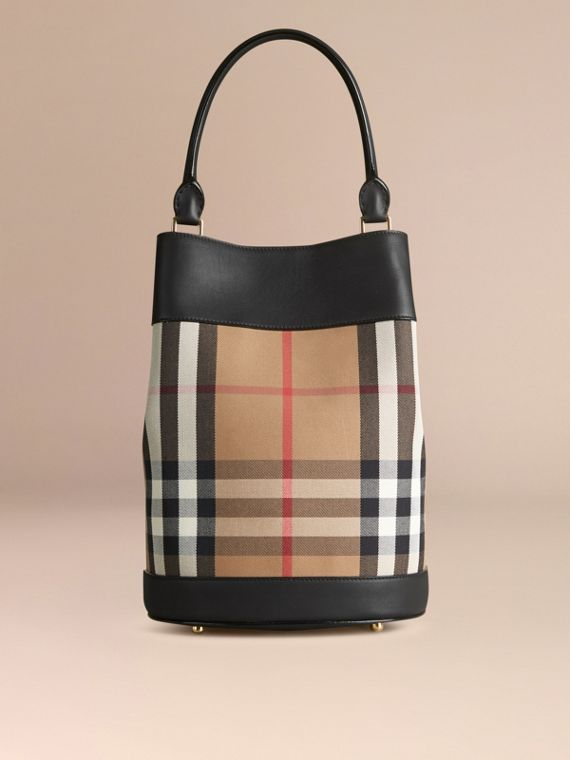 Negro Bolso Burberry Bucket en piel y checks House Negro - cell image 3
