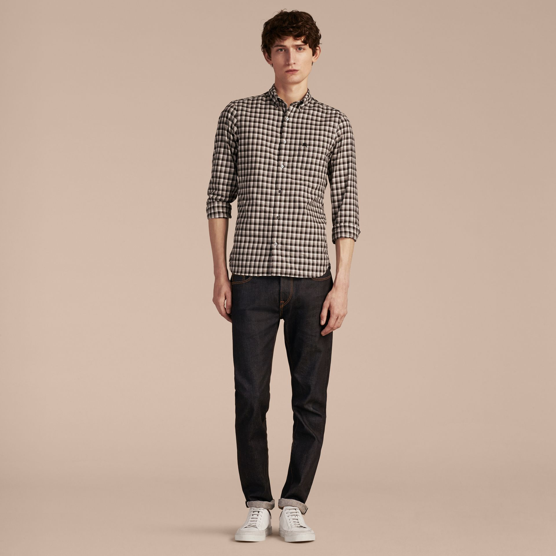 Black Gingham Check Cotton Twill Shirt Black - gallery image 6