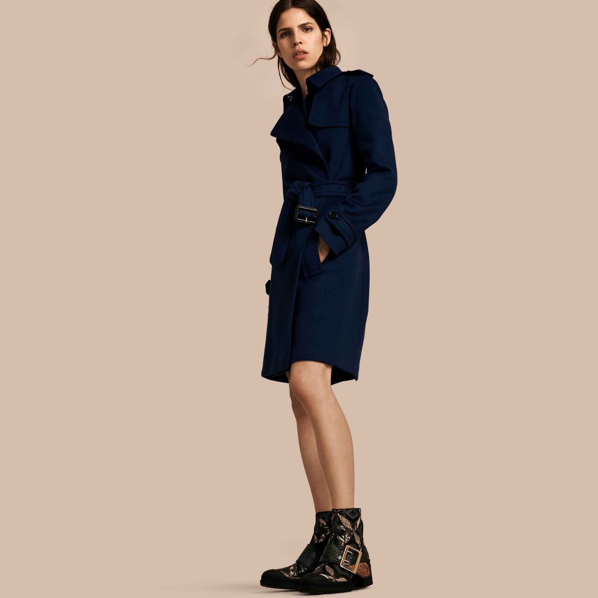 Empire blue Wool Cashmere Wrap Trench Coat - gallery image 1