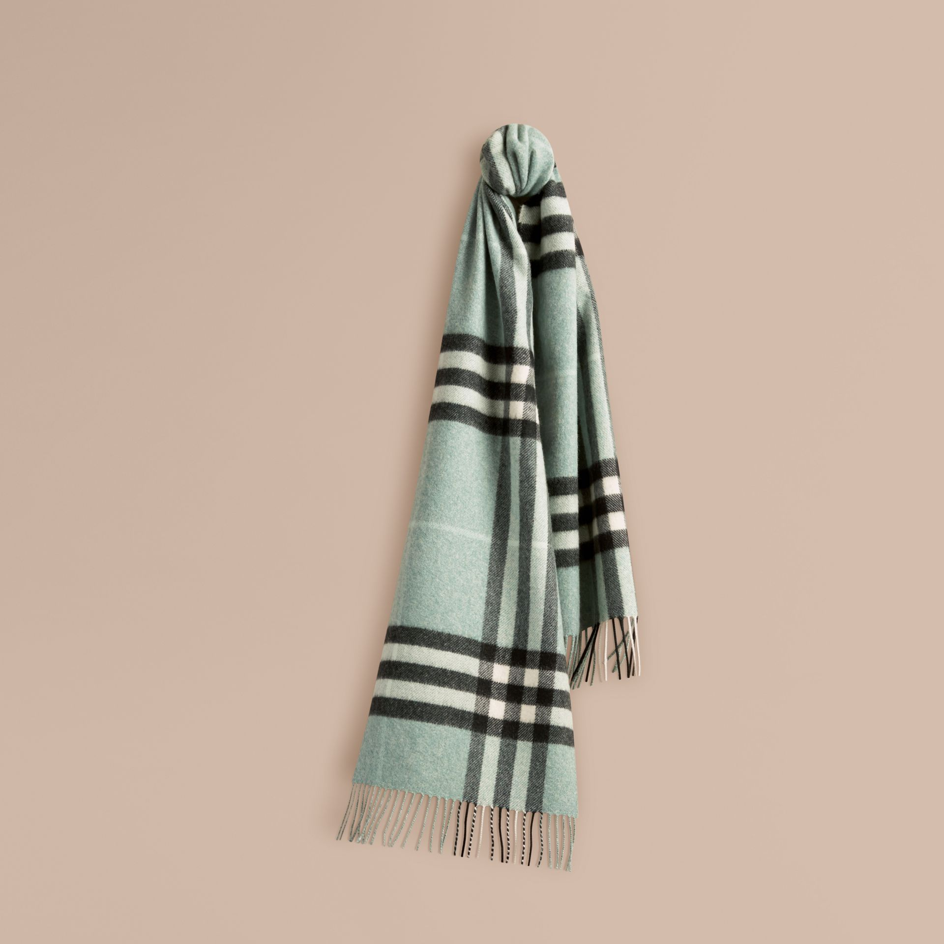 Dusty mint The Classic Cashmere Scarf in Check Dusty Mint - gallery image 6