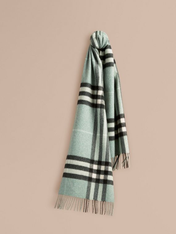 The Classic Cashmere Scarf in Check in Dusty Mint | Burberry