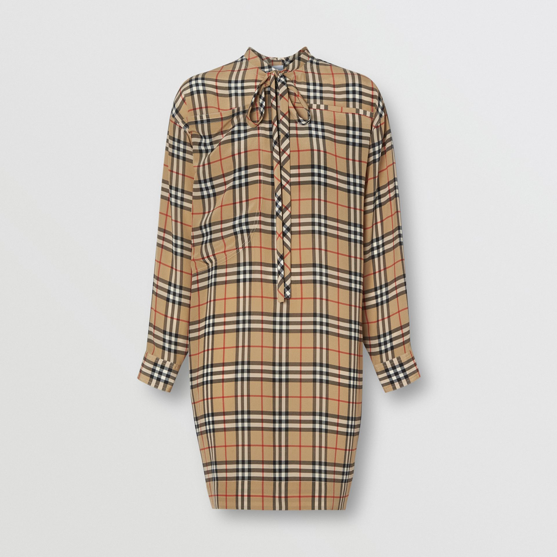 Vintage Check Silk Tie-neck Dress in Archive Beige - Women | Burberry Australia - gallery image 3