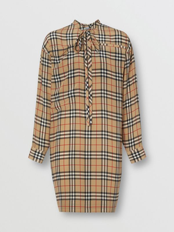 Vintage Check Silk Tie-neck Dress in Archive Beige - Women | Burberry - cell image 3