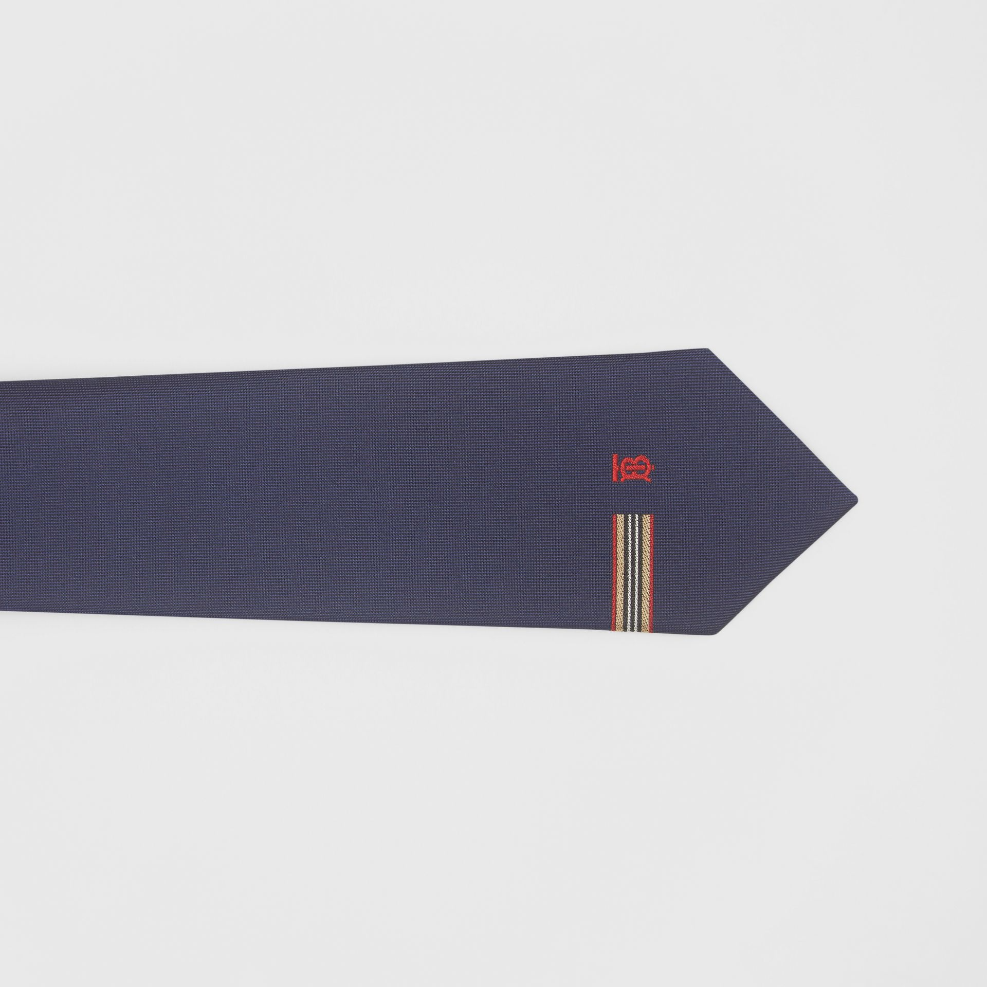Classic Cut Icon Stripe and Monogram Motif Silk Tie in Navy - Men | Burberry United Kingdom - gallery image 1