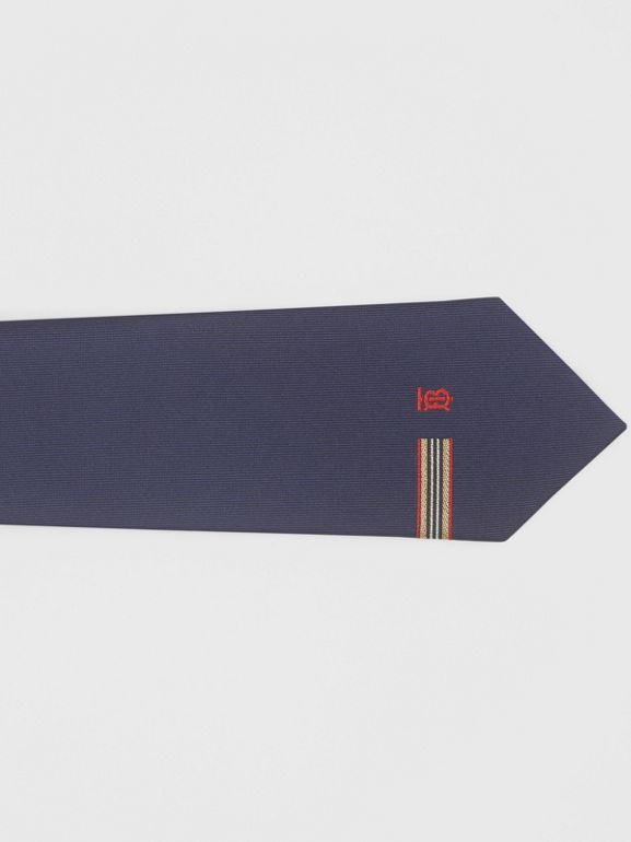 Classic Cut Icon Stripe and Monogram Motif Silk Tie in Navy - Men | Burberry - cell image 1