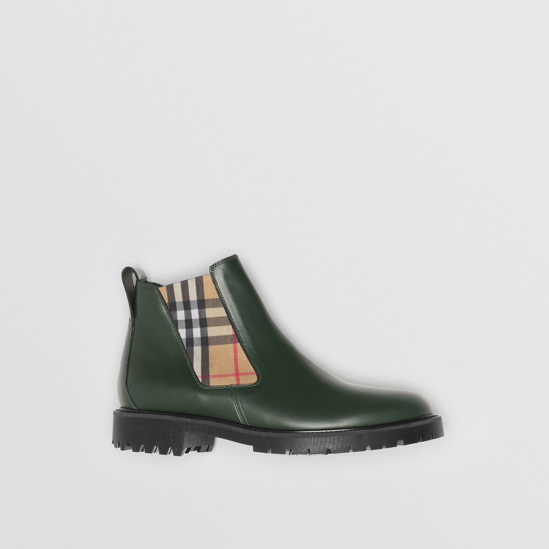 Vintage Check Detail Leather Chelsea Boots in Bottle Green - Men | Burberry - gallery image 5