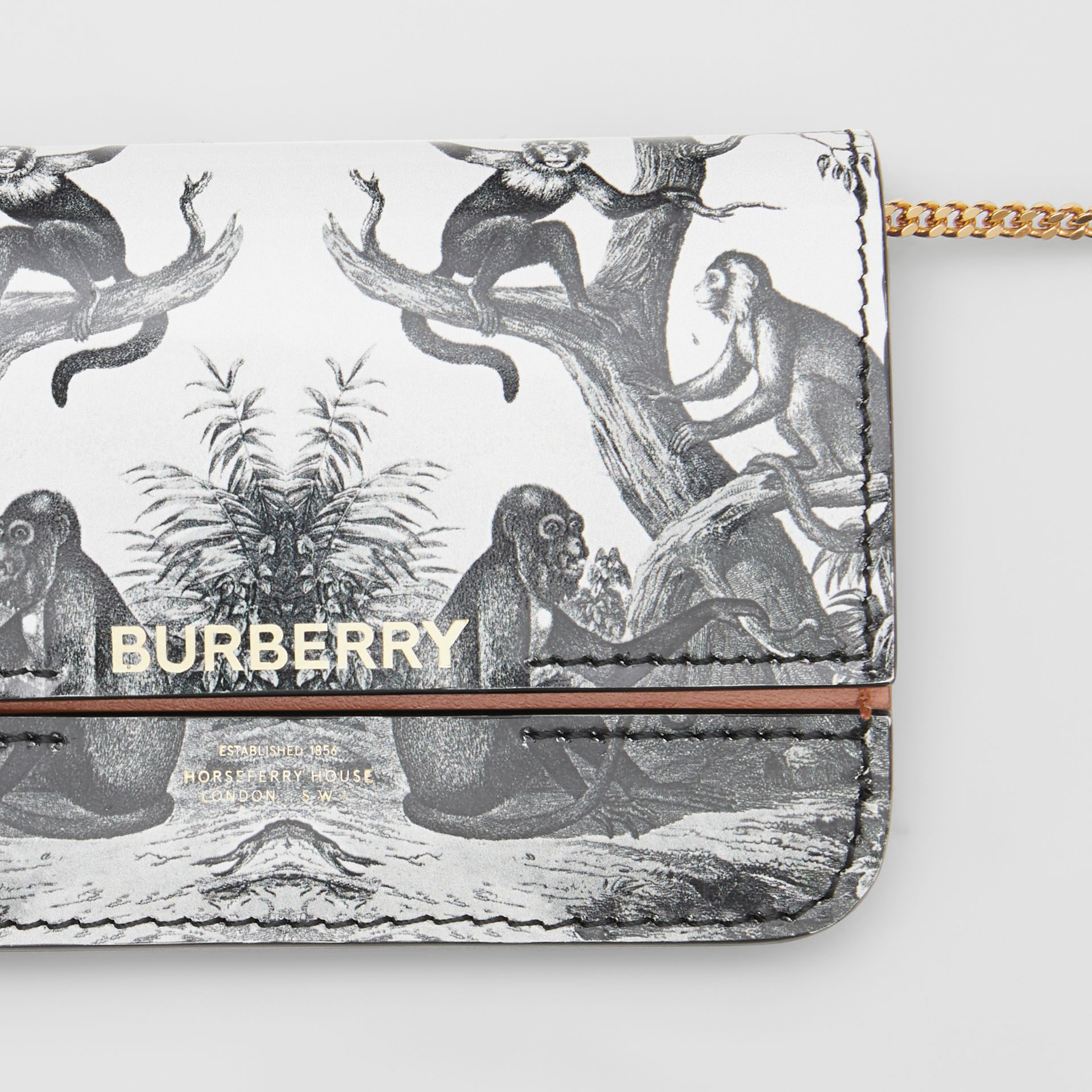 Monkey Print Leather Card Case with Chain Strap in Black/white | Burberry Australia - gallery image 1